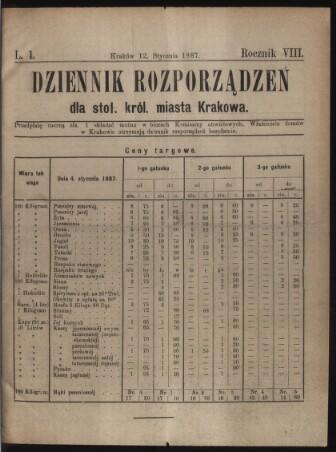 Dziennik rozporzaden dla stol. krol. m. Krakowa. (Verordnungsblatt für die Stadt Krakau.)